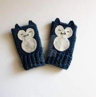 SNORLAX POKEMON Finglerless Gloves by annemisfit