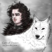Game of Thrones:Jon Snow and Ghost by noji1203