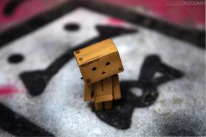 Danbo Standing On Graffiti by LukeBaldacchino