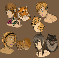 Were-cat/Cat shifter headshot adoptables x2 by wolf-wishes