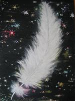 Angel Feather in the night by Harmina