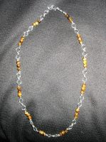 Tiger Eye and Silver Necklace by Wolf-of-Samhain