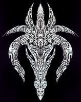 Tribal Dragon: white on black by Morkislair