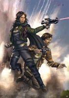 Rogue One Jyn and Cassian by cric