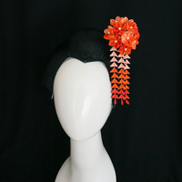 Orange Sunset Hana Tsumami Kanzashi 215 by japanesesilkflowers