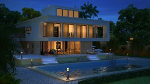 exterior- villa night shot by komallodha
