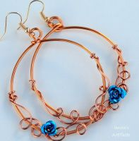 Copper and turquoise wire ring earrings by IanirasArtifacts