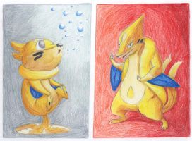 buizel and floatzel by calicobird