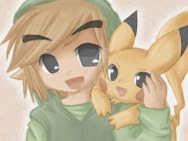 ssbb: link and pikachu by Midna01