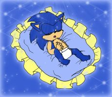 Baby Sonic sleeping peacefully by AishaPachia