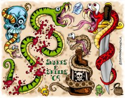Snakes and Skulls 09 by MonsterInk