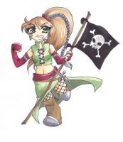 Chibi Jack with a flag by grimkim