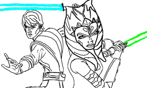 Anakin and Ahsoka Lineart by Chrisily