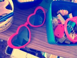 Plastic heart glasses. by BirdsAndTea