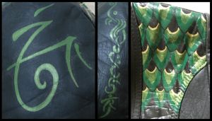 Green Dragon Leather Painted Jacket Details by wraithwitch