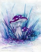 Purple mushrooms by MaryIL