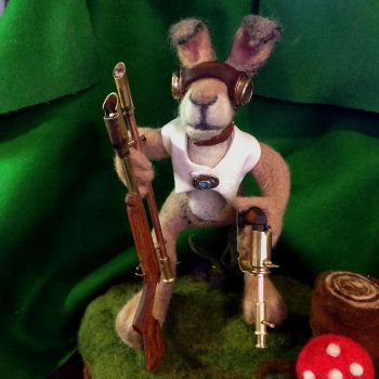 Seymour rabbit and weapons by JohnHapMurphy
