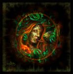 Medusa Behind The Leaves (Digital Painting) by DagmarReneeRITTER