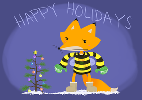 What does the FoxBee wearing Mittens and UGGs Say by Pandas-R-Us