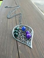 Filigree Leaf Necklace with Peacock Colored Beads by RSuzanne