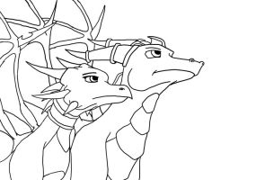 Spyro and Cynder Lineart by Atekal