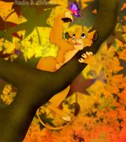 Simba and butterfly by 1234LERT7Nan2
