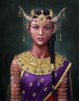 Tiefling Prophetess by dashinvaine