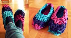 Fancy Knitted Slippers by ajnataya
