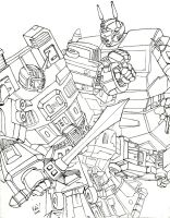 G1 Menasor vs Superion lineart by katiewhy