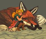 Giant Fox and Girl by MuttInkDreams