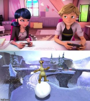 Marinette and Adrien Play Ice Age DotD Video Game by Daisies-Sunshine