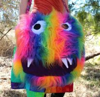 Super Rainbow Furry Monster Bag by Faeriegem