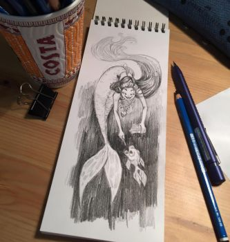 Mermaid pencil sketch - Day 24 by Pykodelbi