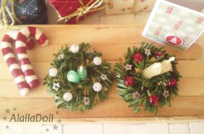 Miniature Xmas Decorations Candles by alaila1