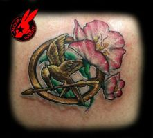 Mocking Jay with Primrose tattoo by Jackie Rabbit by jackierabbit12