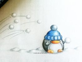 Door No 1: Snowball Fight Penguin by B-Keks