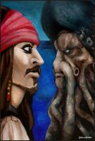 Oil Paint - Jack Sparrow vs. Davey Jones by Johanna-Puukila