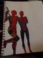 Deadpool and Spiderman by Cheyenne-Anastasia