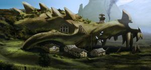 Dragon skull monastery by Drombyb