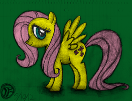 First Fluttershy Sketch - Colored by AncientOwl