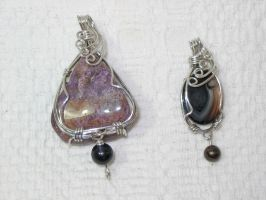 wire wrap pendants by magpie-poet