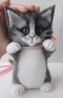 Maine Coon Kitty Handmade Needle Felted Cat by WoolArtToys