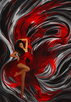 Woman in Red Smudge by Wishlah