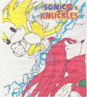 Super Sonic vs. Hyper Knuckles by theGigamix