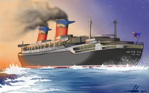 SS United States: Flaming Seas by ZeroGal5