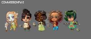 Commissioned Chibis: Set 2 by AudreyGreenhalgh