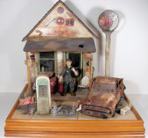 Old Gas Station Miniature by MiniatureMadness