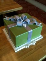 Green and Silver Present Cake by Spudnuts