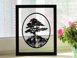 Bonsai Tree Handmade Original Papercut by DreamPapercut
