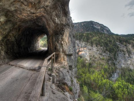 Mountain Road With Tunnel by Burtn